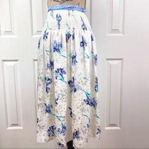 Vintage Maggy London Floral Silk Tie Waist Skirt